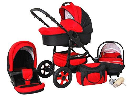 Lux4Kids Future Kinderwagen Komplettset (Autositz & Adapter, Regenschutz, Moskitonetz, Schwenkräder) 05 Rot & Schwarz