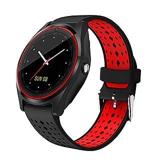 Hanbaili Smartwatch Reloj Inteligente con Ranura de Tarjeta SIM/TF y Cámara, Fitness Tracker, Análisis de Sueño, Podómetro, Alertas de Mensajes, Pulsera Actividad para teléfonos Android y iOS
