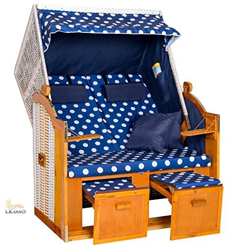 Strandkorb OSTSEE BDW blau, Geflecht weiß, blau-weiß gepunktet, mit Hülle, von LILIMO ® - 4