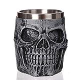 CCMOO Cráneo gótico Resina Jarra de Cerveza de Acero Inoxidable Dragon Knight Tankard Taza de café de Halloween Navidad Taza de té Pub Bar Decor-Silver Skull King