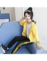 ZYTAN Ropa de niños, ropa de primavera y otoño, 4, 13 años, trajes, chaquetas y pantalones,Amarillo,160cm.