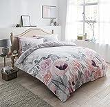 Juego de ropa de cama de Pieridae, diseño floral, funda de edredón y fundas de almohada, Gris, matrimonio