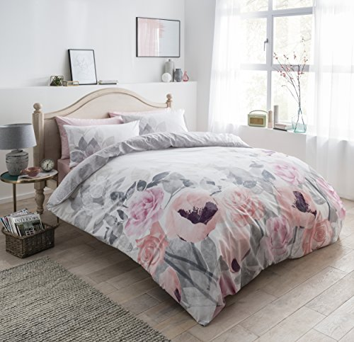 Sleepdown Faded Flowers Grey Reversible Quilt Duvet Cover & Pillow Cases Set (Single). Best Price and Cheapest