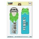 Set von 2glanzfolienkaschiert Faultier und Frosch Lesezeichen–Namen weiblich pa-pe Pearlie