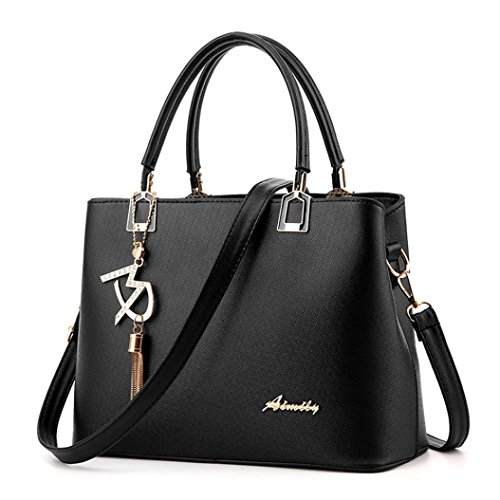 Handtasche Umhängetaschen für damen-Damenhandtaschen groß Leder Damen ,YULAND Mode Frauen Leder Umhängetasche Umhängetasche Messenger Bag Handtasche (Schwarz) (Millennium-leder-handtasche)