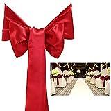 Pixnor Moda e delicato raso Bowknot sedia copertina Fusciacche fiocchi nastri per matrimonio banchetto decorazione 25pcs
