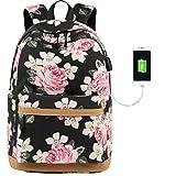 Rucksack Mädchen Fashion Damen Canvas Schulrucksack Floral Backpack for Teenager Girls mit USB Charging Port (Schwarz)