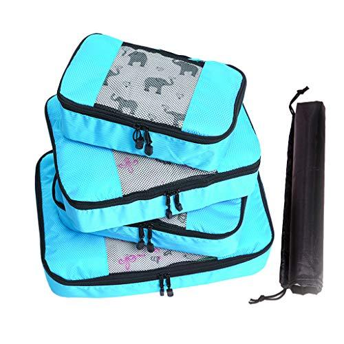 HHyyq 4 Stück Frauen Tasche Damen Umhängetasche Multifunktions Wasserdichte Große Kapazität Reisetasche Aufbewahrungstasche Outdoor Reisegepäck(Himmelblau)