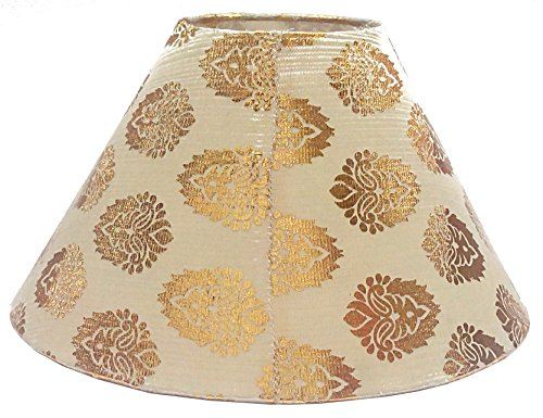 """RDC 10"""" Round Cream with Golden Designer Lamp Shade for Table Lamp"""