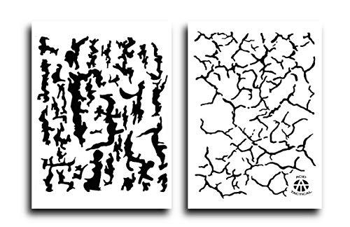 Ácido Tactical 2 unidades – 23 cm x 35 cm Camuflaje aerógrafo pintura spray Stencils – Plantilla de Jon Boat árbol de espalda/tierra en estante