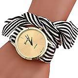 SSITG Damen Wickel Armbanduhr Stripe Cloth Armband Bracelets Quarz Uhren Damenuhr Geschenk Gift Watch