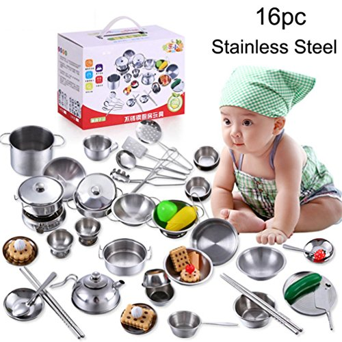 Cooking toy Set Kids Educational Toys,Y56 16Pcs Stainless Steel Pots Pans Cookware Cooking Utensils Miniature Toy Pretend Play Gift For Children Kid Educational Toy Set Home Living Children Kids Toy