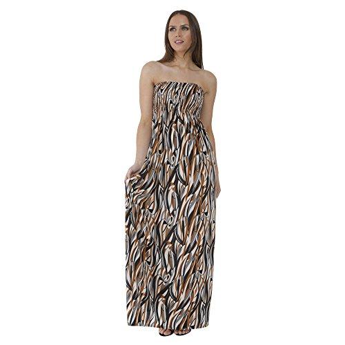 Nuovo donna obiettiamo boobtube Maxi-vestito saffico Tipo di lunga Maxi in stile estivo spalline taglia S/m - vestito m/l COFFEE WAVE