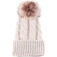 Tongshi Crochet las mujeres del invierno del sombrero de lana de punto casquillo caliente Hemming
