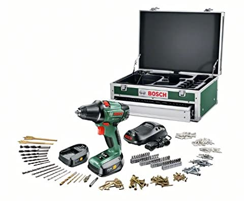 Bosch PSR 14,4 LI-2 HomeSeries Akku-Bohrschrauber + 241 tlg. Zubehör-Set + Toolbox + 2 Akkus und 1-Std.-Ladegerät (14,4 V, max. 40 Nm)