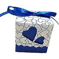 nikgic papel boda cajas de caramelos cajas de caramelos en forma de corazón cajas de regalo caja de cartón 100unidades, azul oscuro, 5X5X5cm
