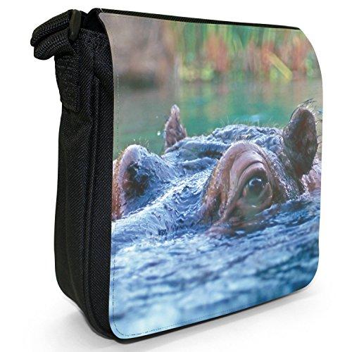 Ippopotamo ippopotamo-Borsa a tracolla in tela, piccola, colore: nero, taglia: S Hippo Having A Sneaky Look