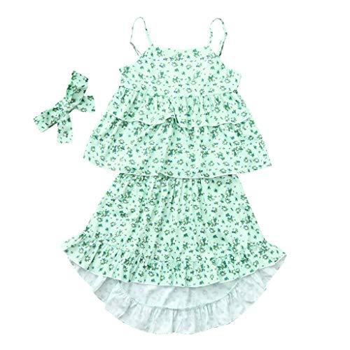 JUTOO 3 Stücke Set Infant Baby Mädchen Kinder Floral Rüschen Tops T-Shirt + Pants + Stirnband Outfits Set (Grün ()