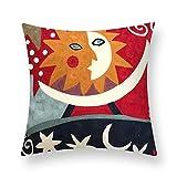 ALIKER Cartoon Abstrakte Stickerei Kissen Büro Sofa Kinderzimmer Kissen 18 * 18 Zoll Platz Lendenkissen (Farbe : 04, größe : 45 * 45cm)