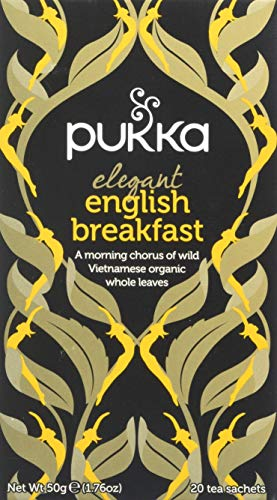 Pukka Elegant English Breakfast, Organic Black Tea with Nam Lanh (4 Pack, 80 Tea bags)