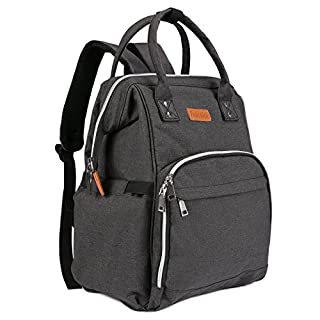 Baby Diaper Changing Bag,AONOKOY Post Maternity Nappy Organizer Multi-Function Travel Backpack - Large Capacity Nappy Bags With Stroller Strap for Baby Care Newborn Stylish Mother Gifts (Grey/Black) (Black)