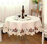 ShineMoon All Season Textilien Küche Esstisch Tuch Bezüge, rustikale Bestickt Blumen aus weiß Tischdecke für Hochzeit Party