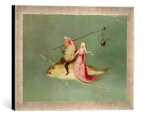 Gerahmtes Bild von Hieronymus Bosch The Temptation of St. Anthony, right hand panel, detail of a couple riding a fish, Kunstdruck im hochwertigen handgefertigten Bilder-Rahmen, 40x30 cm, Silber raya