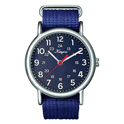 XZDCDJ Herren Uhren Angebote Für Stilvolle cool alle arabischen Ziffern und 24 Stunden Militär Zeit Nylon Gürtel Uhr 257
