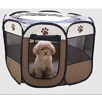 Wiiguda@ Parc à chiot, chien, chat, animaux, pliable, à l'intérieur ou à l'extérieur, facile à monter, taille M : 73X73X43 cm.