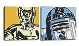 Juego de dos cuadros Star Wars 25x25 cms, impresión sobre lienzo 'R2D2 y C3PO'