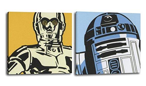 """Juego de dos cuadros Star Wars 25x25 cms, impresión sobre lienzo """"R2D2 y C3PO"""""""