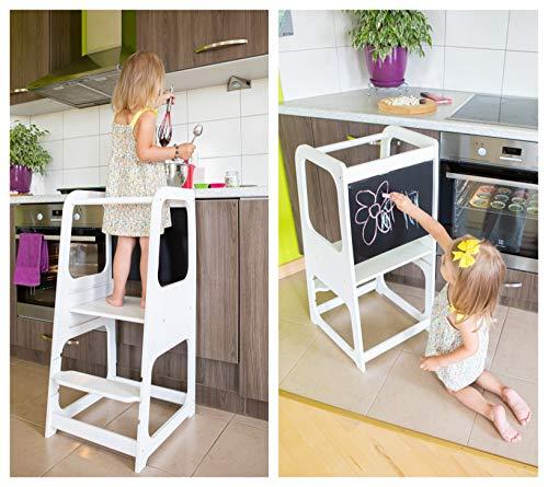 Cucina Helper cucina sgabello sicurezza sgabello Toddler passo sgabello ragazzino Scaletta/sgabello attività Torre sgabello di Montessori torre facente un passo di apprendimento (Bianco)