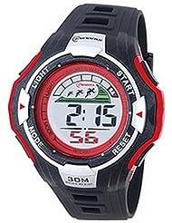 Montre digital Homme - bracelet Plastique Noir - Cadran Rond Fond Noir et Rouge - Marque Montre Concept - MR8006