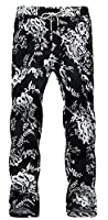 H&E Mens Linen Drawstrings Print Thin Stretch Ankle Length Pants 1 Small