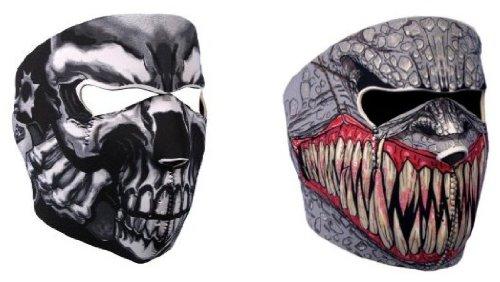 """GOODSPORTS© - Lot de 2 Cagoule Masque Protection Neoprene """"Assassin' Skull + Demon"""" - Taille unique réglable - Airsoft - Paintball - Outdoor - Ski - Snow - Surf - Moto - Biker - Quad"""