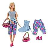 Miunana Abito E Accessori Per Bambola Barbie Dolls (Cappotto Azzurro + Indumento Intimo Azzurro + Pantaloni Rossi + Borsa + Sciarpa Gialla + Cappello Giallo + Scarpe Rosse)
