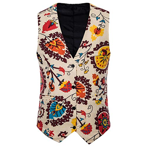Dasongff Herren Klassische Casual Floral Jacquard Weste Boho Stil Drucken Westen (Sleeve Shirt Jacquard)