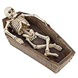 Design Toscano Lümmelndes Skelett im Sarg, Maße: 11,4 x 21,6 x 6,4 cm
