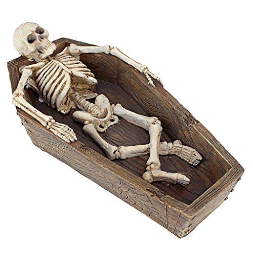Design toscano qm21799 scultura polivalente cassa da morto dello scheletro sdraiato