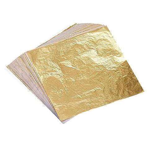Bememo 100 Blätter Imitation Blattgold für Kunst, Vergoldung Handwerk, Dekoration, 14 mal 14 cm
