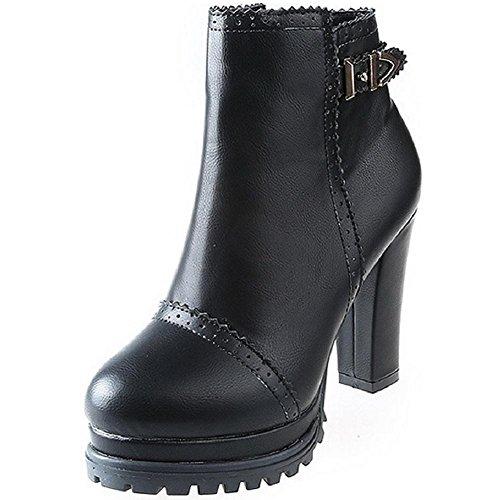 AgooLar Damen Blend-Materialien Reißverschluss Rund Zehe Hoher Absatz Niedrig-Spitze Stiefel Schwarz
