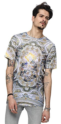 Pizoff Unisex Digital Print Beach Urlaub Langes T Shirts mit Katzen Landschaft Tier Muster Y1213-19