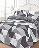 Dreamscene Shapes Duvet Cover with Pillow Case Bedding Set, Polyester-Cotton, Black, Double