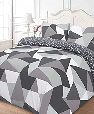 Dreamscene Polycotton Duvet Cover with Pillow Case Bedding King - Shapes Black - inexpensive UK light store.
