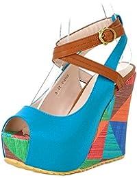 TAOFFEN Mujer Moda Peep Toe Sandalias Tacon De Cuna Tacon Alto Plataforma Al Tobillo Zapatos