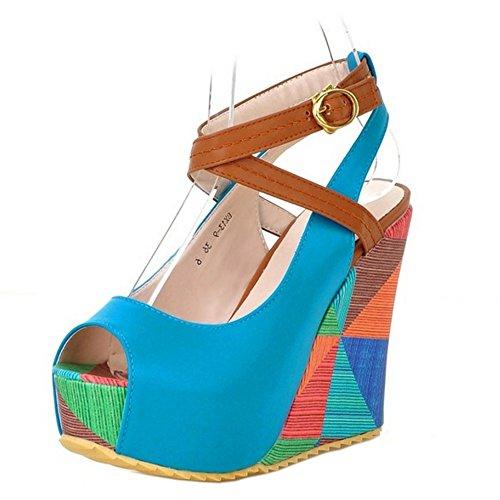 TAOFFEN Femmes Mode Peep Toe Sandales Compenses Talons Hauts Plateforme Sangle De Cheville Chaussures Bleu