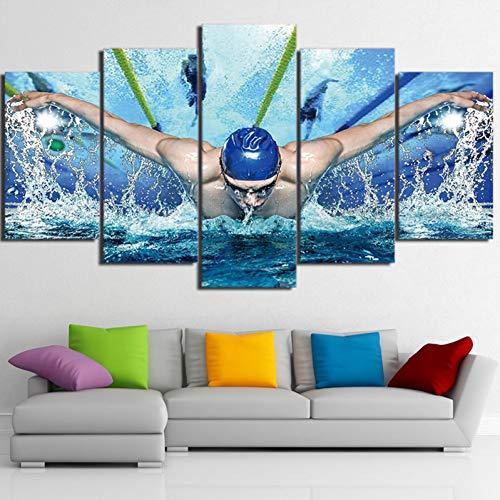 WLHSB Leinwanddrucke Bilder Hd Gedruckt Leinwand Öl Poster Wandkunst Rahmen Für Wohnzimmer Decor 5 Stücke Schwimmbad Fitness Gym Malerei