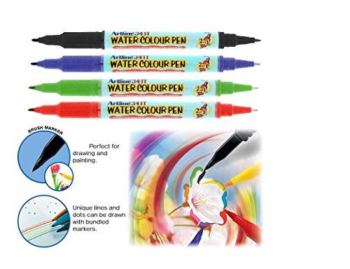 Artline 2-in-1Whiteboard Marker fein/Superfine sortiert (4Stück)/Pinsel Stifte Set–4Farben–weiches Flexible Bürste Dual Geheimtipp, Hohe Qualität, schaffen Wasserfarben Effekt–Beste Bücher, für Erwachsene, Manga, Comic, Kalligraphie–Dual Dicke (Machen Farbe Mischen Karte)