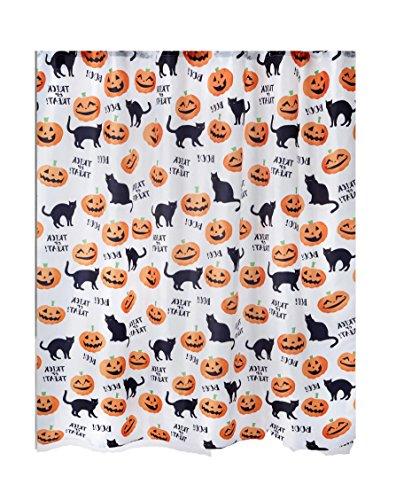 Avanti Linens Halloween Vorhang für die Dusche, Polyester Stoff, Schwarz Katzen und Kürbisse Design, 182,9x 182,9cm, Standard Größe