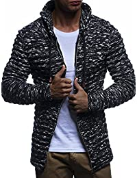 LEIF NELSON Mens Knit Sweater Biker Quilted LN20705